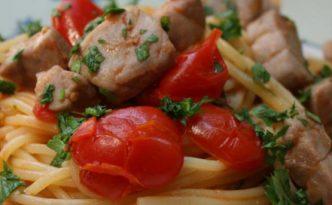 Spaghetti thon frais et tomates cerise
