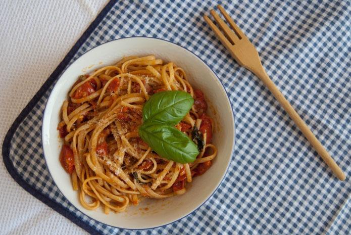 Recette italienne linguine aux tomates cerises